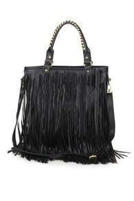 Retro Tassel Rivet Black Bag