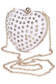 Riveted Heart-shaped White Bag