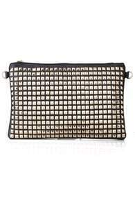 Gold-tone Rivets Embellished Clutch