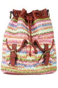 Woven Ethnic Print Backpack