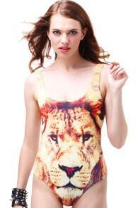 Lion Face Deep Cut Swim Suit