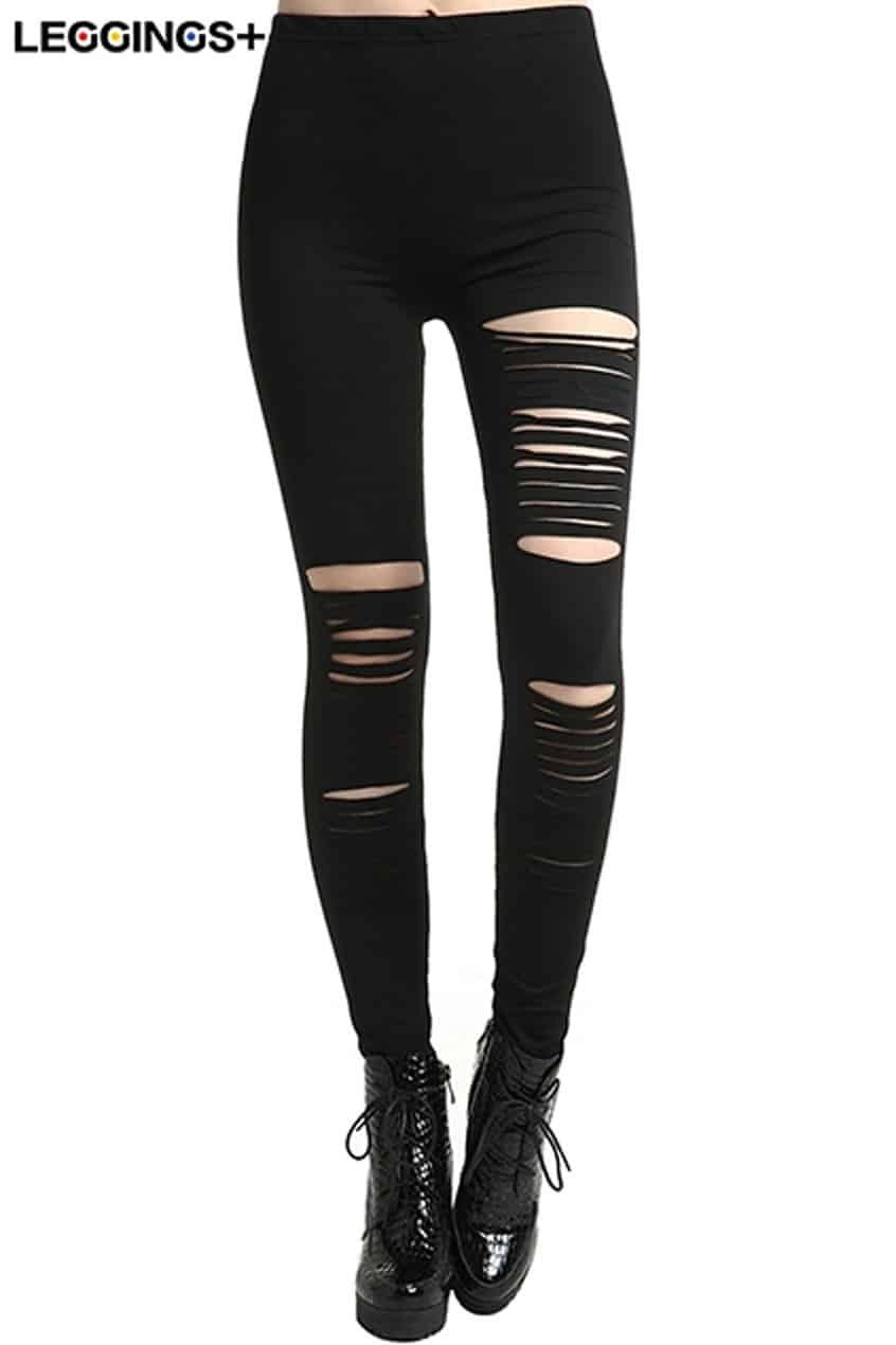 ROMWE Distressed Black Slit LeggingsFor Women-romwe