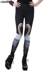 ROMWE Swan Print Skinny Black Leggings