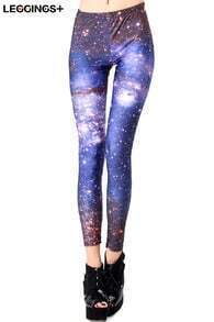 ROMWE Galaxy Print Blue Leggings