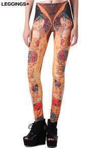 ROMWE Romantic Kiss Print Color Leggings