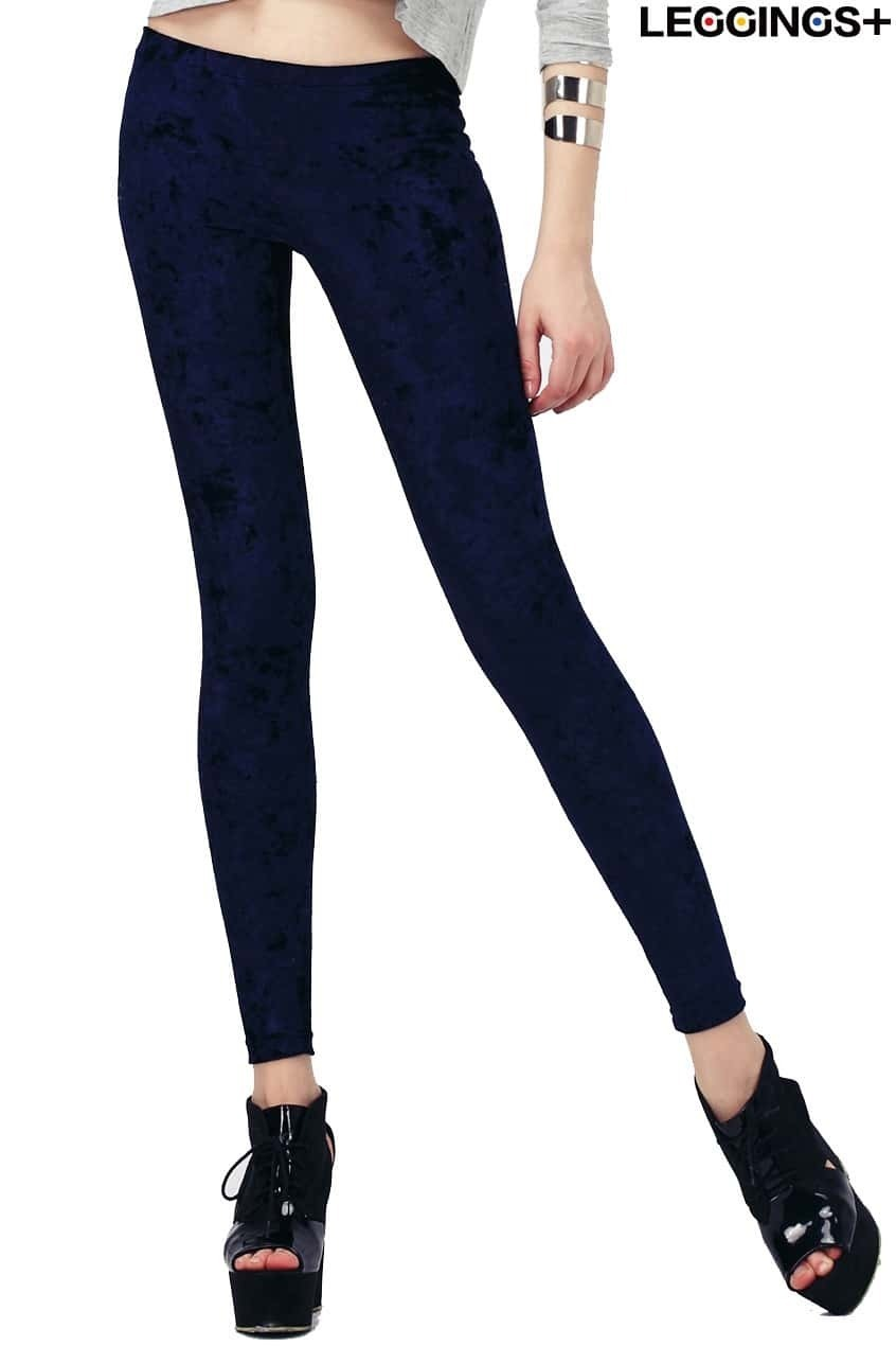 ROMWE Classic Gold Soft Velvet Solid Blue LeggingsFor Women-romwe