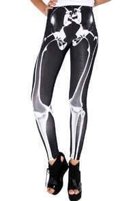ROMWE Skeleton Print Black Leggings