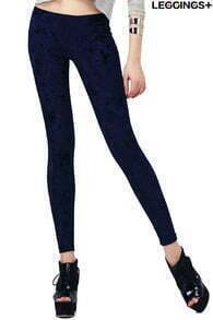 ROMWE Classic Gold Soft Velvet Solid Blue Leggings