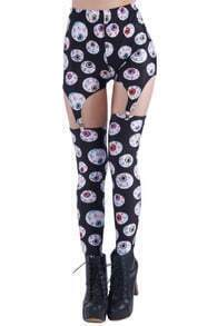 Halloween Eyes Print Black Leggings
