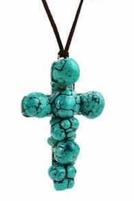 Blue Cross Pendant Necklace