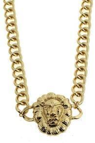 Wide Chain Lion Necklace