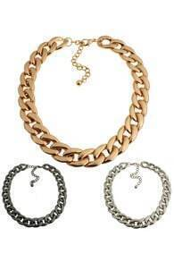 Short Wide Curb Chain Necklace
