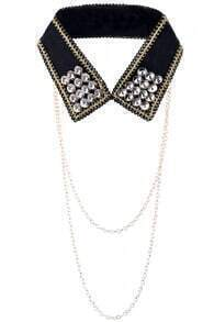 Chain Detailed Crystal Detachable Collar