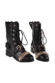 Lace Up Fastening Black Boots