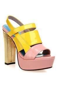 Color Contrast Platform Sandals