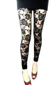 Lace PU Rose Leggings
