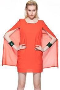 Cape Shoulder Pads Orange Dress