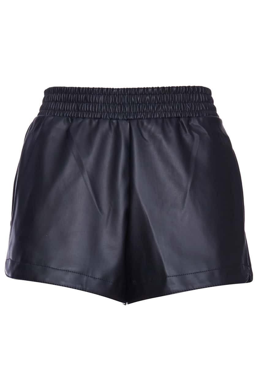 Elastic Waist Faux Leather Black ShortsFor Women-romwe