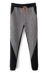 ROMWE Color Block Pocketed Drawstring Grey Harem Pants