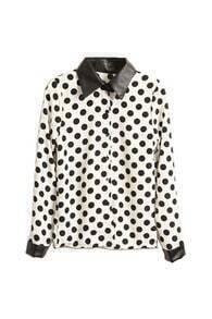 Splicing PU Dots Print White Shirt