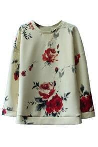 Romwe Asymmetric Floral Print Long-sleeved Blouse