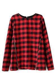 ROMWE Check Zippered Long Sleeves Red T-shirt