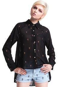 Cross Printed Swing Shirt