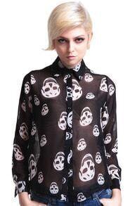Skull Print Sheer Shirt