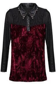 Riveted Collar Velvet Shirt