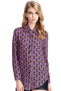 Abstract Pattern Print Purple Buttoned Shirt