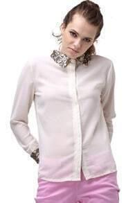 Paillette Lapel Apricot Chiffon Shirt