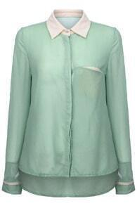 Single Pocket Light Green Shirt