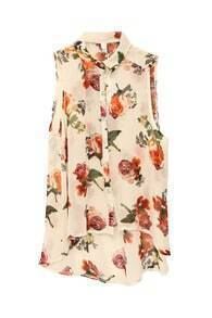 Sleeveless Flowers Cream-coloured Shirt