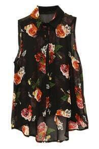 Sleeveless Flowers Black Shirt