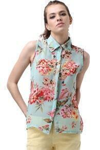 Flower Printed Green Chiffon Shirt