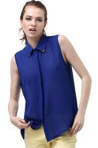 Metal Point Lapel Blue Chiffon Shirt
