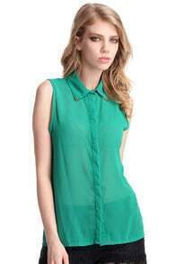 Metal Point Lapel Green Chiffon Shirt