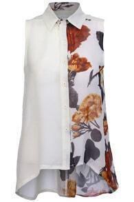 Flower Printed Beige Chiffon Shirt