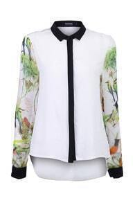 Green Print Color Block Shirt