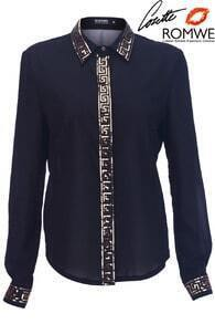 Black Basic Greek Key Deco Shirt
