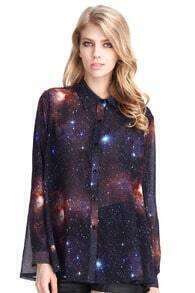Universe Print Loose Shirt