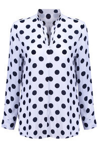 Polka Dots V-neckline White Shirt