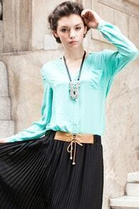 V-shape Neckline Light Green Shirt