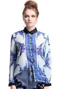 Blue-White Porcelain Print Chiffon Shirt