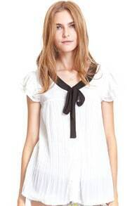 Flouncing Self-tied Pleated White Blouse