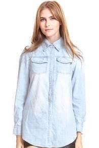 Buttoned Pockets Dark-blue Shirt