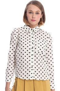 ROMWE Long Sleeves Heart Patterned Casual White Shirt