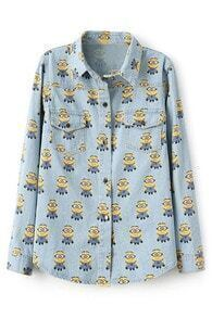 ROMWE Minions Print Long Sleeves Light-blue Denim Shirt