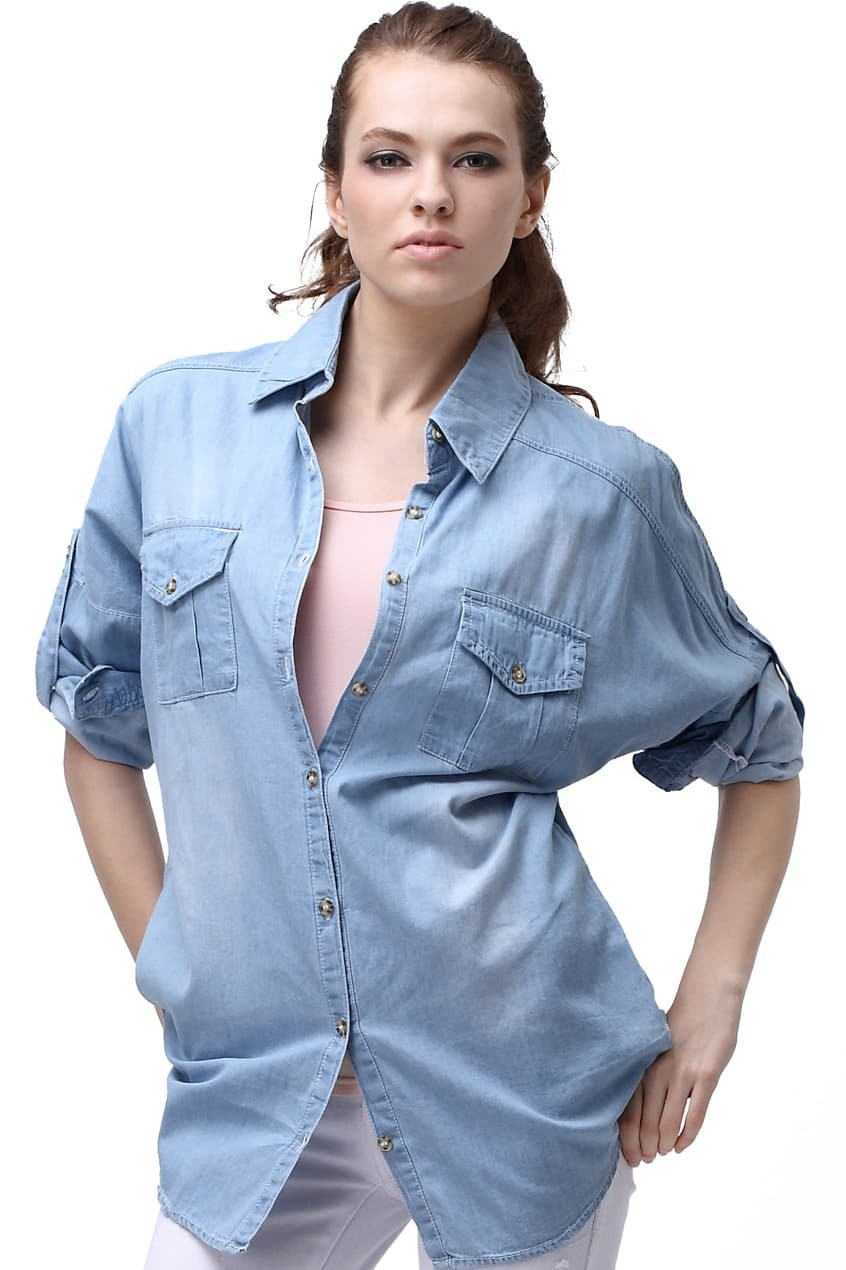 loose batwing sleeve blue denim shirtfor women romwe