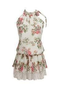 Beaded Collar Floral Shift Dress